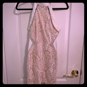 Luxxel White and Nude Lace Mini Dress